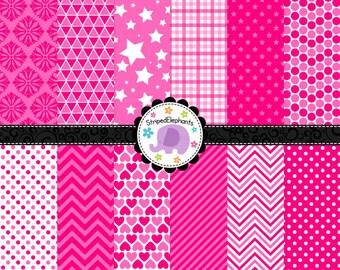 Pink Digital Scrapbook Papers, Hot Pink Digital Paper Pack, Pink Digital Background, Instant Delivery, Commercial Use