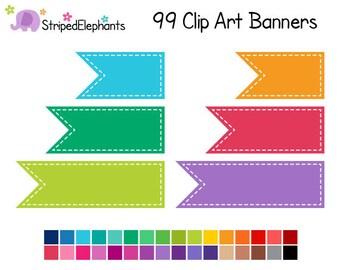 Banner Flag Clip Art - Digital Clipart - Instant Download - Commercial Use