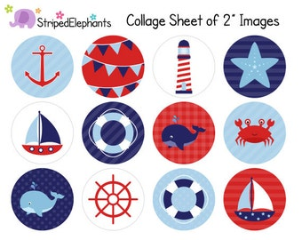 Nautical Digital Collage Sheets - 2 Inch Circle Images - Printable Cupcake Toppers - Instant Download - Commercial Use