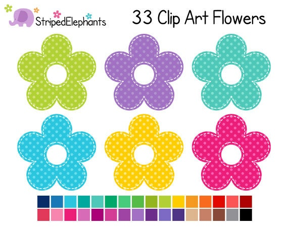 Flower Clipart Polka Dots Digital Clip Art Instant