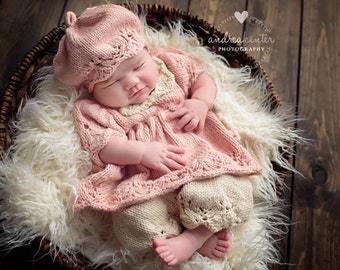 Gracie Beret Hat PATTERN, Newborn Hats, Spring, Summer Knits, Lace Knitting, Photo Props, Photography Props, Tam, Cap, Pink, Gifts for Baby