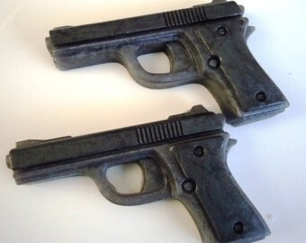 DISCOUNT for 6 Total Pistol Soaps (3 sets) VANILLA Scented - Gray Color - Vegan guest bath decorative gun rifle shoot bullet