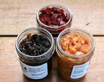 Gourmet Sampler Pack 3 8 oz Jars: Jams, Jellies, Chutneys, Preserves