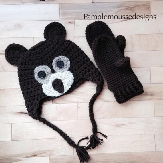 Crochet brown bear ear flap hat and mittens.