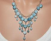Larimar Necklace, Bib Necklace, Gemstone Necklace,  Statement Necklace, Bridesmaid Necklace