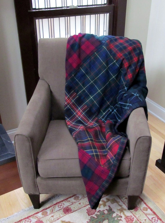 Up-cycled Plaid Patchwork Throw