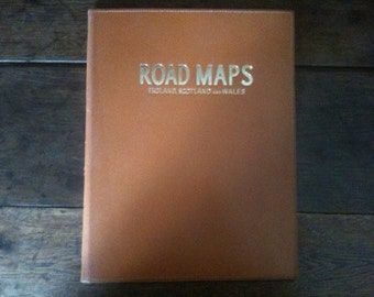 Vintage English Road Maps Map Leather Cover Wallet Case circa 1970-80's / English Shop