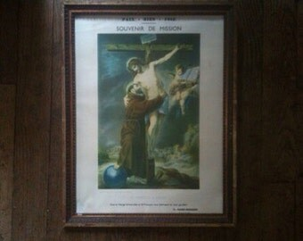 Vintage French St Francois D Assise St Francis of Assisi framed religious print circa 1930-40's / English Shop