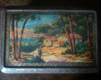 Vintage French rural rustic farmhouse tin canister box storage circa 1970's / English Shop