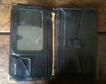 Vintage English Large Black Leather Wallet circa 1970-80's / English Shop