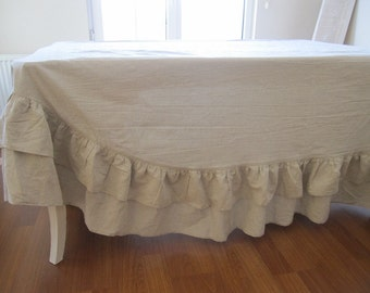 Wedding event two rows of ruffle linen cotton tablecloth rectangle round oval, ivory oatmeal Turkish 84 120 130 inch French country home