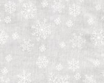 Last One 1 Yard of Ramblings White on White Snowflakes by P & B Textiles