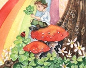 Paddy's Luck- 5x7 or 4x6( 10 x 15cm )archival whimsical St Patricks fairy elf gnome clover Spring fantasy illustration