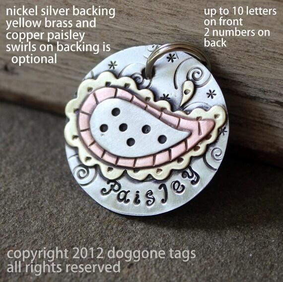 Dog ID Tag and key fob- Large paisley tag