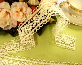 Very elegant Lace border high end  guipure Vienna Cotton for dresses dolls tablecloths and crafts by the yard