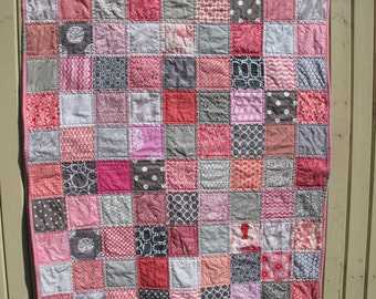 Handmade baby quilt in grey and pink, gray, baby shower present, baby birthday present, baby girl present - MADE TO ORDER