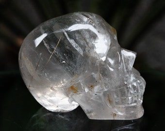"RAINBOWS 2.6"" Natural Golden Rutilated Quartz Carved Crystal Skull 6.88 OZ C0479"