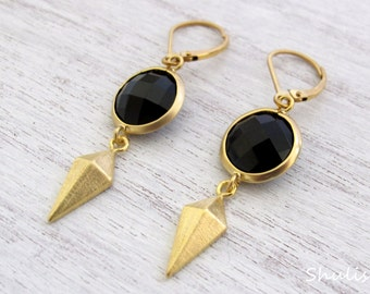 Long Gothic Earrings with Black Round Glass Stone & a Diamond Pendant