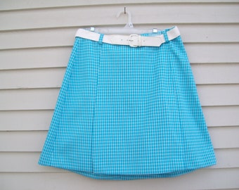 Turquoise Gingham Skort / Skirt / Mod Mini /  Shorts / By Fountain Square