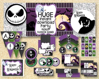 HALLOWEEN Nightmare Before Christmas Party, Printable Party Pack, Jack Skelington, Instant Download, Halloween printable, fall printable
