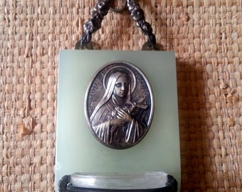 Antique Wall hanging French religious benitier stoup with brass and a medal of Ste Therese
