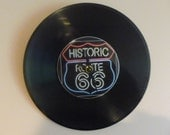 Route 66 Recycled Vinyl Record/ CD Clock Wall Art