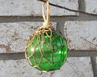 Green Glass Fishing Float Christmas Ornament