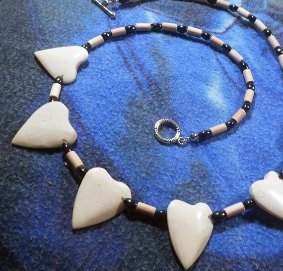 Memorial Day Necklace, Bone Heart Necklace, Bamboo Necklace, Magnetic Necklace, Healing Necklace, Native American Necklace, Memorial Day