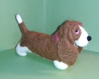Bassett Made of Felted Alpaca Ornament/Figurine - NEW for 2014