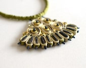Textile necklace yellow, statement necklace yellow, fiber jewellry- Handmade textile jewelry OOAK ready to ship