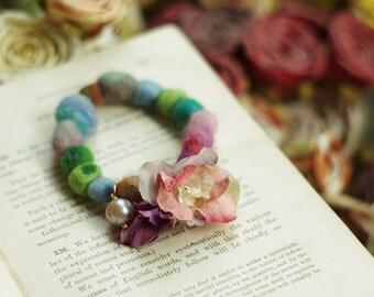 Color  baize stretch bracelet---Flower dream B