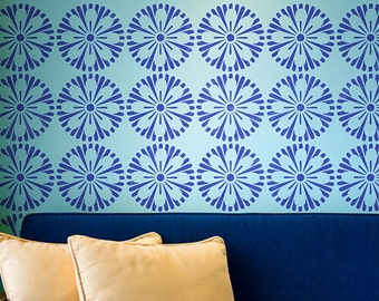 Retro Graphic Flower Wall Stencil for Wallpaper Look