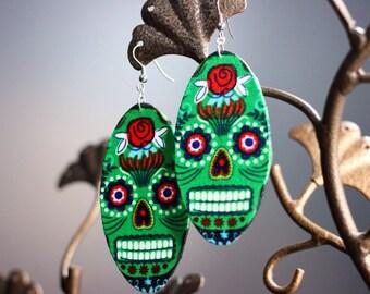 Sugar skull (Dia de Los muertos) Earrings Green