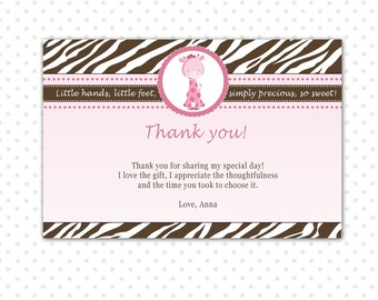 Giraffe Thank You Card, Baby Girl Shower Thank You Note, Giraffe Birthday Party, Pink Brown Zebra Editable File INSTANT DOWNLOAD