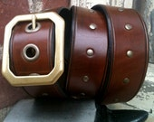 Beachwood Brass Handcrafted Leather Belt (Antique Brown, Full Rivets)