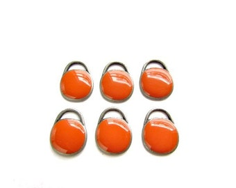 6 Orange Enameld Drops /  Charms / Drop Bead Charms