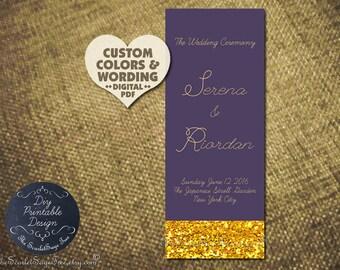 KISSED By GOLD Wedding Program Custom Design Pdf DIY Printable Template/ Order Prints Decor Ceremony Glitter Order of Day Service 2016 Trend