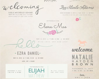 INSTANT DOWNLOAD - Birth Announcement Words Overlays vol.8