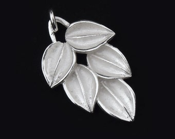 1 of 925 Sterling Silver Leaf  Pendant 15x26mm. Matte Finish. :th1764