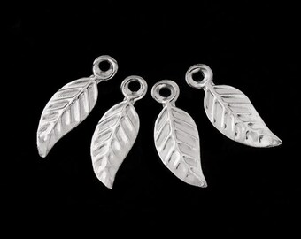 30 of 925 Sterling Silver Leaf Charms 4.5x10 mm. :th0528