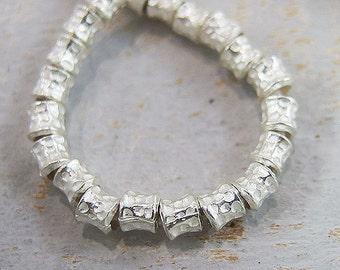 20 of Karen Hill Tribe Silver Hammered Drum Beads 4.4 mm. :ka3904