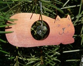 Hand Crafted Wooden Kitty Cat Faceted Crystal Heart Christmas Ornament