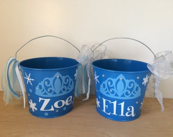 Snow Princess Personalized halloween trick or treat metal bucket, 5 quart pail w/ Rhinestone Bling, blue w/crown and snowflakes, gift basket