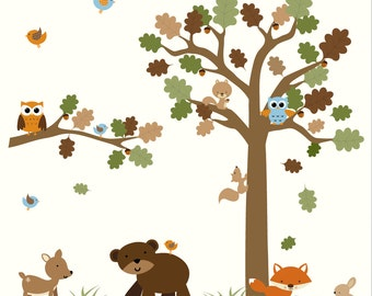 Forest decal set-WALL DECAL-Removable Wall Decal, Nursery Vinyl Wall Decals Art