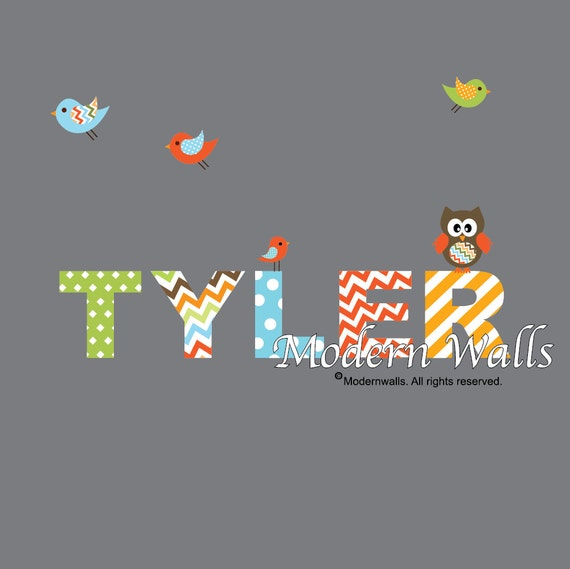Wall Decals Nursery- Name Decal with Owl Birds-Kids