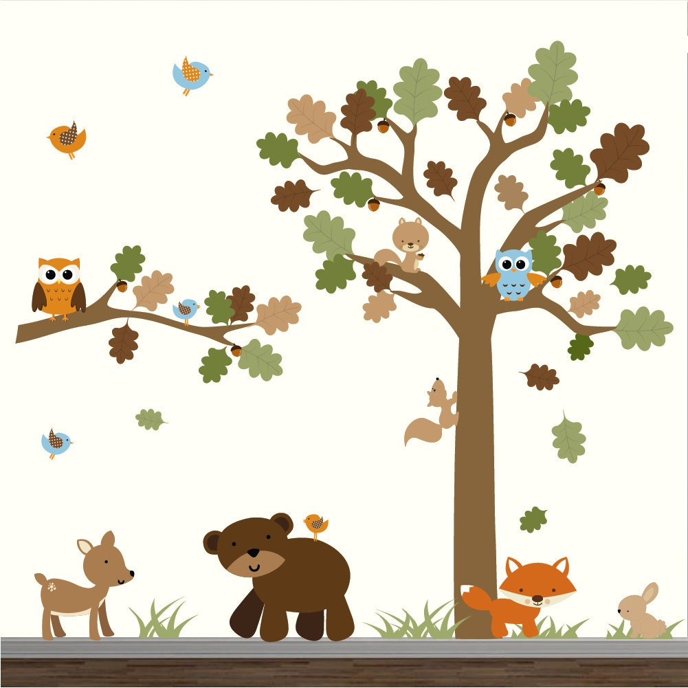 forest decal set wall decal removable wall decal nursery. Black Bedroom Furniture Sets. Home Design Ideas