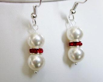 Swarovski Crystal Pearls and Red Siam Crystal Rondelles - Elegant Earrings, Wedding, Bridal, Bridesmaids, Christmas, Valentines, SRAJD