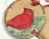 christmas ornament - wood cookie cardinal with bead and rustic ribbon