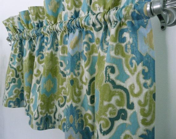 Modern Green Blue Damask Valance for Kitchen, Living or Office