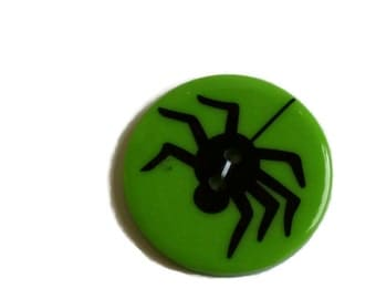 Round Green Button with a Spider